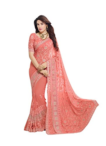 Craftsvilla Women's Chiffon Saree With Blouse Piece (Fkms207-9004_Orange)