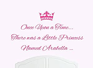 Once Upon a Time There was a Little Princess dénommée Arabella Grand Sticker mural en vinyle pour chambre de fille/bébé Art
