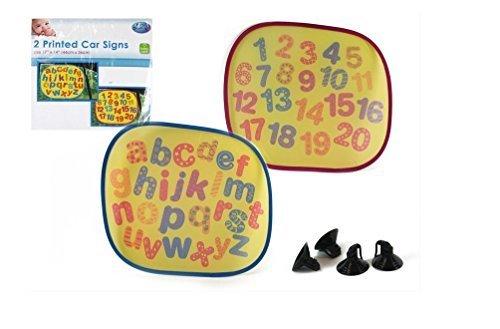 2 voitures Pare-soleil de signes (Alphabet & Numbers)