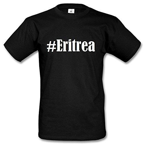T-Shirt #Eritrea Hashtag Raute für Damen Herren und Kinder ... in den Farben Schwarz und Weiss Schwarz