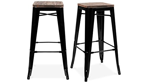 Tabouret de bar design industriel HARLEM (lot de 2) noir