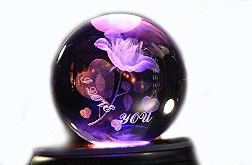 OOFYHOME Crystal Music Box-3D Immortal Flower Colorido LED Luz giratoria , 002
