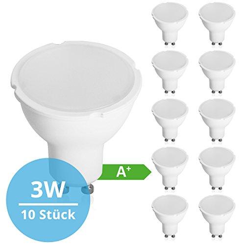 Lampen 3 Stück Set (Panorama24 LED GU10 SET 10 Stück 3 W mit einer Leuchtkraft von 26 W, warmweiß (3000 K), 200 lm, 120 ° Abstrahlwinkel, A+, Glühbirne, Birne, Halogen, Lampe, Spot, Strahler)