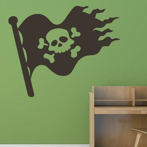 Piratenflagge Jolly Roger Schädel Piraten Wandsticker Kinder Dekor Art Decals verfügbar in 5 Größen und 25 Farben Extraklein Nuss (Dekor Piraten)