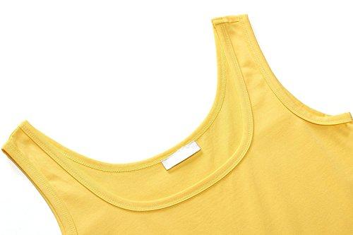 Damen Ärmelloses Einfarbig Strandkleid Sommerkleid Tank Kleid Ausgestelltes Trägerkleid Knielang Gelb