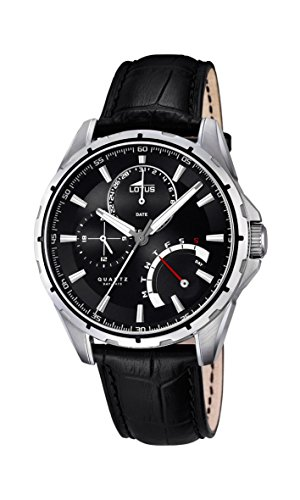 Lotus Men's Quartz Watch with Black Dial Analogue Display and Black Leather Strap 18208/2