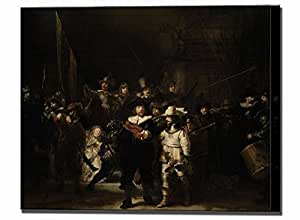 The Night Watch Painting Rembrandt Large Canvas van Rijn Wall Art Print Ready To Hang Stretched Home Decor Framed Reproduction (40 x 30 cm)
