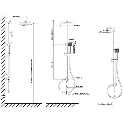 41e7p7n0h9L. SS416  - AuraLum Conjunto de Ducha Sistema de Ducha Pared Columna sólido douchettes Grifo para Cuarto de baño latón Cromado