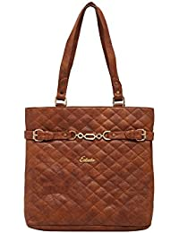 ESBEDA Tan Checked Pu Synthetic Material Handbag For Women
