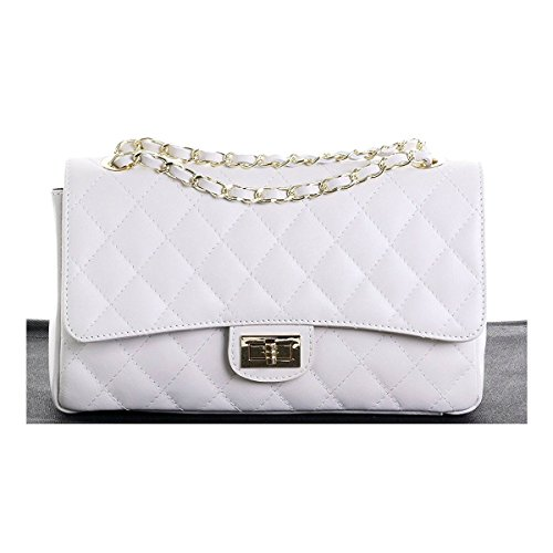 3ef6e2259938 Italian Leather Quilted Designer Inspired Handbag with Gold Trims (White)