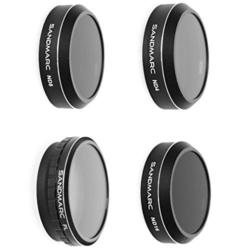 SANDMARC Aerial Filter für DJI Phantom 4 Pro / Advanced - ND4, ND8, ND16 und Polarisator Filters (4-Pack)