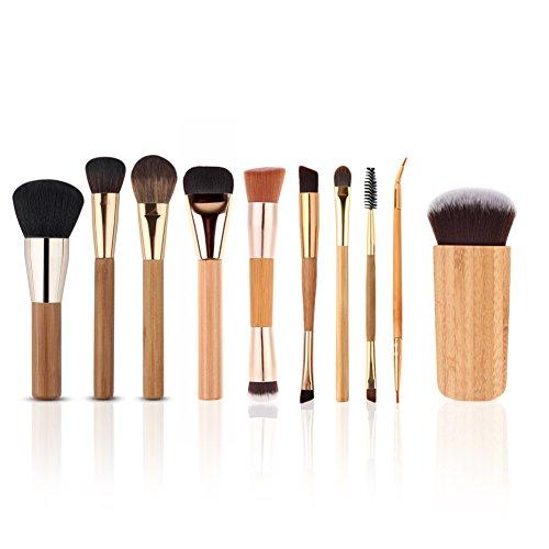 HimanJie 10pcs Set de brosse maquillage avec toile sac maquillage professionnel brosse Kits
