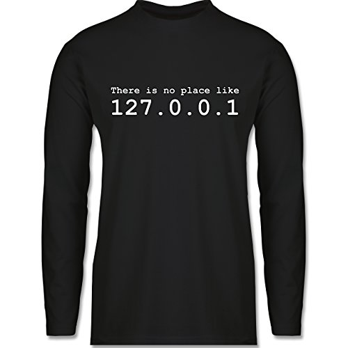 Shirtracer Programmierer - There is No Place Like 127.0.0.1 - Herren Langarmshirt Schwarz