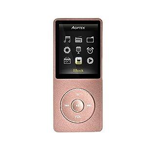 AGPTEK Mp3 Classique 8Go Ultra-Longue Autonomie jusqu'à 70 Heures de Musique avec Un écran de 4,6 cm (Slot Carte mémoire de 64Go), Or Rose