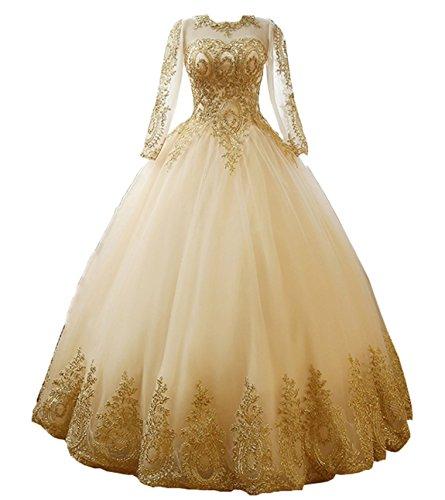 NUOJIA A Linie Prinzessin Quinceanera Kleid mit Gold Appliques Ballkleider Lang Festkleider Traube 50