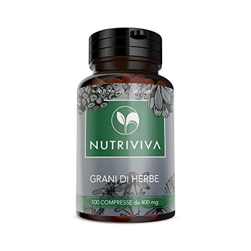 NUTRIVIVA - 100 Körner von Kräutertabletten 400 mg   gegen Verstopfung, fördert die normale Darmtätigkeit   hilft Verdauung   auf der Basis von Weine, Aloe, Rhabarber, Erdbeere, Pflaume.