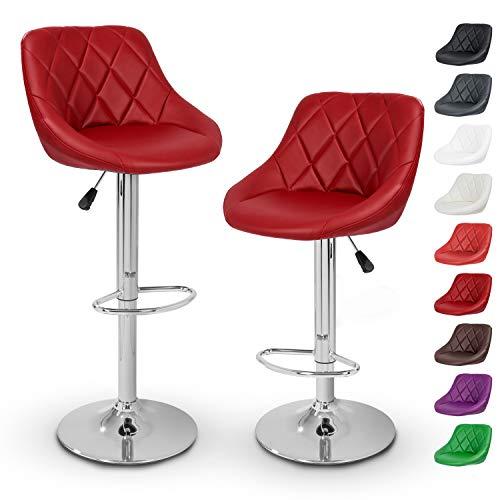 TRESKO 2er Set Barhocker Barstuhl 10 Farben wählbar, 360° Frei Drehbar, Sitzhöhenverstellung 60-80cm (Weinrot)