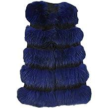 LaoZan Mujer Corto Abrigo Chaleco de Piel Sintética Chaqueta Sin Mangas Faux  Pelaje Otoño Invierno Azul 3ef454c96f59