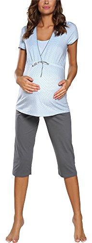 Italian fashion if pigiama premaman due pezzi f2l3c3t1 0225 (blu/grigio, l)