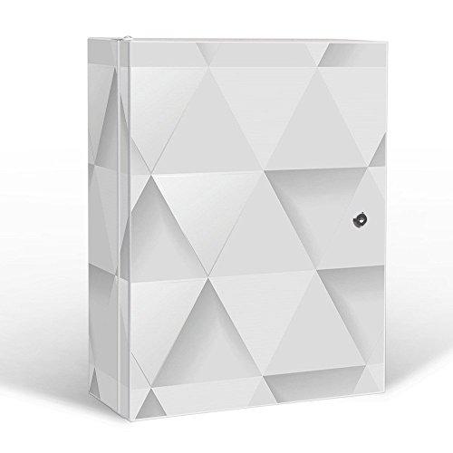 #banjado – abschliessbarer Medikamentenschrank 35x46x15cm mit Motiv Weisse Dreiecke#
