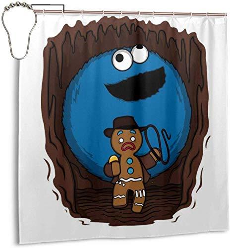 Lucky girlfriend Wasserdichtes Polyestergewebe Duschvorhang Indiana Jones Cookie Monster Lebkuchenmann Mix Print Dekorative Bad Vorhang mit Haken, 72 '' X 72