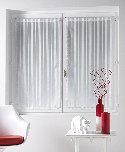 Douceur d'Intérieur Clarity 1 Voile à Paire Droite Rayures Jacquard/Polyester Imprimé 60 x 90 cm