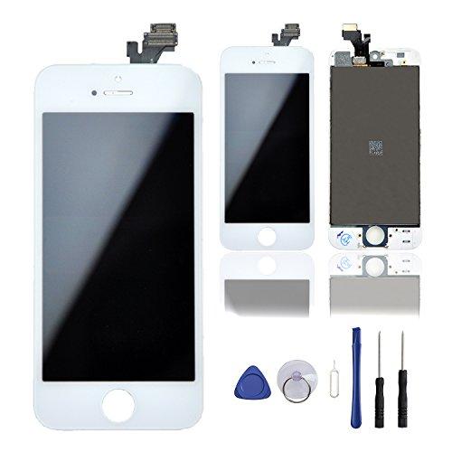 Queenswell per iphone 5 con kit di riparazione, touch screen + lcd display assemblato + set di strumenti,bianco