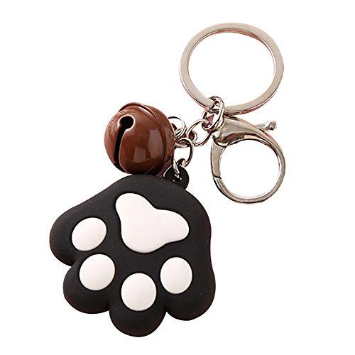 osmanthusFrag Schöne Schlüsselanhänger Hund Katze Pfote Kleine Glocke Schlüsselanhänger Halter Tasche Ornament Black -