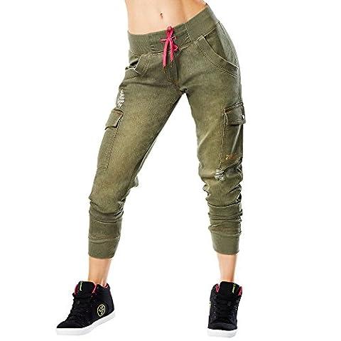 Zumba Fitness Damen Dance Crew Denim Joggers Pants, Armed and Ready, XL (Fashion Stretchable Armband)