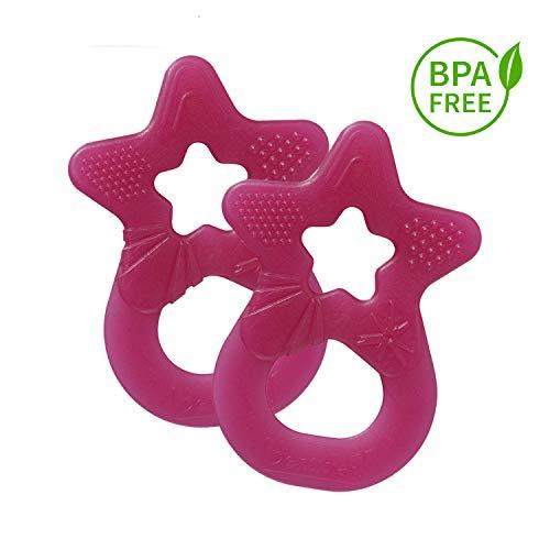 Dentistar® Baby Beißstern - 2er Set Beißring - Zahnungshilfe - BPA frei - ab 3 Monaten - Made in Germany | Pink