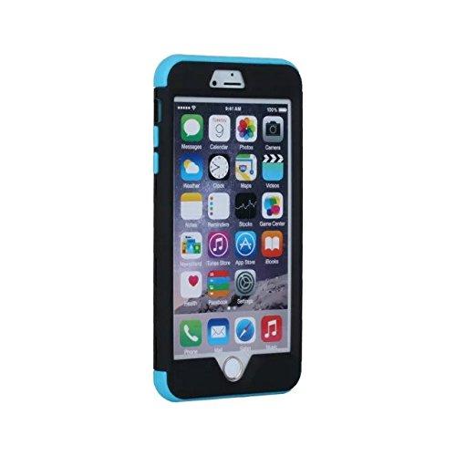 iPhone 6 Coque,iPhone 6S Coque,Lantier 3 en 1 Combo Slim Mat givré mat Finition Design Shockproof hybride double couche de couverture de cas dur pour Apple iPhone 6/6S 4.7 inch Rouge+Noir Black+Blue