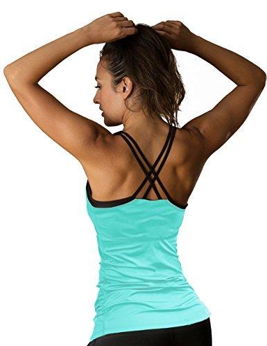 icyzone Damen Fitness Trainings Shirt mit BH - X Rücken Sport Gym Top Oberteile (S, Florida Keys)
