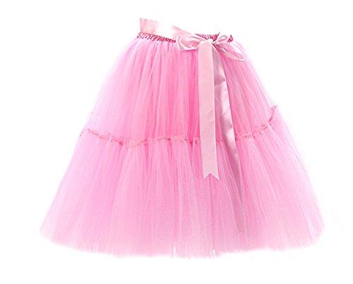 Honeystore Damen's Tüllrock Damen Vintage Tutu Rock Tanzrock Unterrock 5 Schichten Petticoat Prinzessin Rock Rosa One (Halloween Kostüme Vintage Ebay)