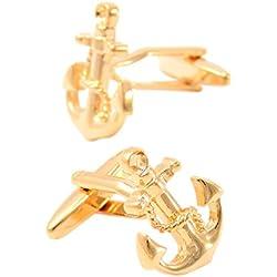 Para Hombre Gemelos Francés Camisas Vestimenta Negocios Mangas Oro Ancla Estilo Accesorios,Gold-16*21mm