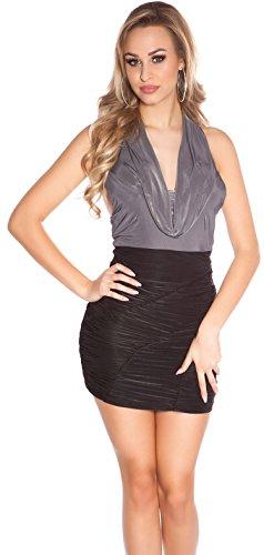 Minikleid Gerafft mit Wasserfallausschnitt * 34 36 38 * Abendkleid ärmellos Kleid Partykleid...
