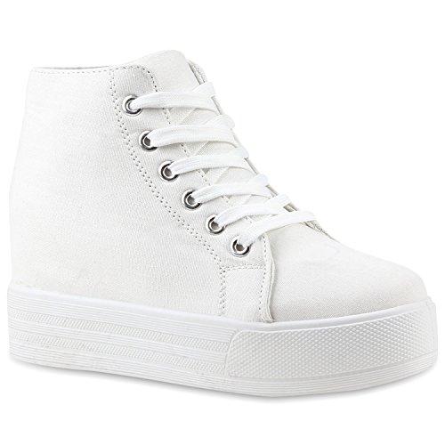 Damen Plateau Sneaker-Wedges Helle Sohle Sneakers Keilabsatz Weiss Weiss