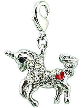 Bettelarmband Anhänger Halskettenanhänger Einhorn Kristall Herz Rot Unicorn Kristall Smart