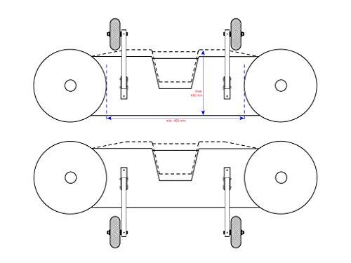 EDELSTAHL Heckräder für Schlauchboot, Slipräder - EasyTrans PU200 YB (gelb/blau) -