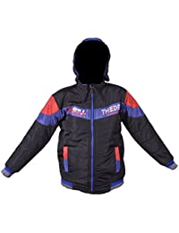 EK UDAAN - KIDS UNISEX WOOLEN POLYFILL RIVERSIBLE HOODED JACKET SIZE 32 BLACK WITH ASSORTED FIT FOR 10 YEAR KIDS ( Height up to 4 to 4.5 feet)