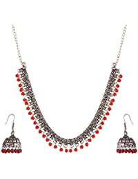 Ganapathy Gems Red Metal Strand Necklace Set For Women (GPJC27)