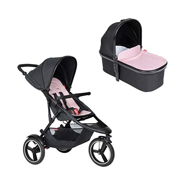 Phil&teds Dash Buggy with Seat Insert Blush + Carrycot) with Cover in Blush phil&teds Box contents: 1 Phil&teds Dash buggy with seat insert blush + baby bath (Carrycot) with cover blush. With a second seat, can be used as a twin and siblings for 2 children (not included, please order separately) 11.2 kg lightweight and slim 58 cm. 1
