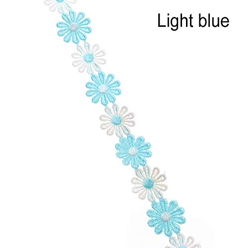 lakamier 2 Yards 2.5cm Edge Embroidery Ribbon Tassel Polyester Sun Flower Sewing Accessories Apparel Fabric Water Soluble Lace Lace Trim(+Light Blue)