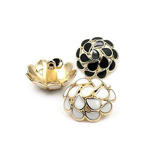 British Fashion Hohl Metall Button mit Gold Schaft für Damen-Kleid, Cashmere Mäntel, Wind Coat, 10Stück, weiß, 25 mm (Knopf-blazer Cashmere)
