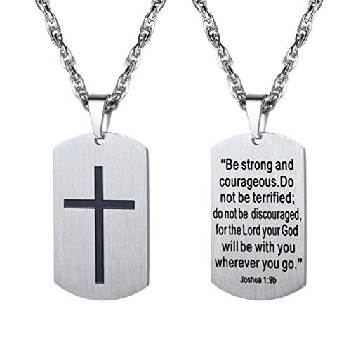 PROSTEEL Halskette Edelstahl Dog Tag Erkennungsmarke für Männer Gravur Kreuz und Vers von Josua 1:9b Jungen Modeschmuck Geschenk für Jubiläum Weihnachtsfeier(Silber)