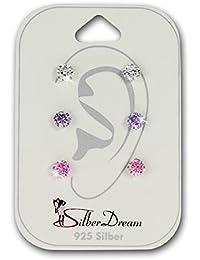 SilberDream Ohrstecker 3er Zirkonia weiß lila rosa 925 Silber Damen Ohrring Geschenk SDS808