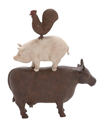 Deco 79 44717 Polystone Farm Animal Stack, 10 x 14 by Deco 79 -
