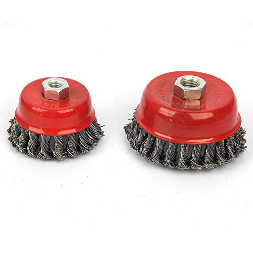 Knot Wire Cup Brush (JUN GUANG Wire Brush Wheel Twist Knot Semi Flat Wire Wheel Cup Brush Kit to Fit Angle Grinder Remove Rust Clean Welds 2pc Set,10cm)