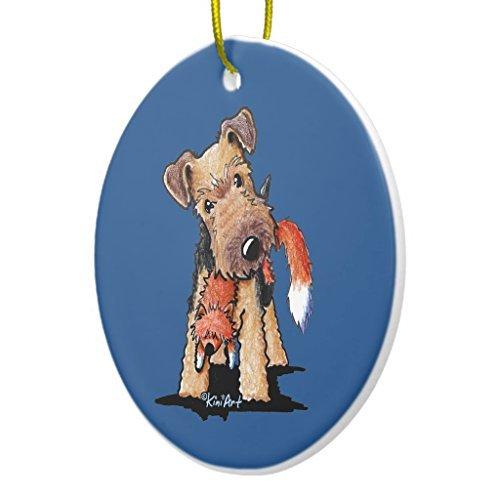 WSMBDXHJ Weihnachtsdekoration, walisischer Terrier mit Spielzeug, Fuchs, Keramik, Weihnachtsbaum-Dekoration, Andenken, Ornamente, 7,6 cm, Kreis