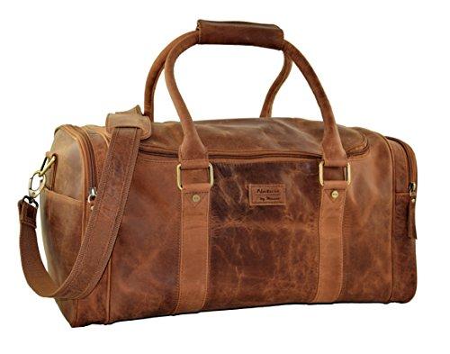 "MENZO Lederaccessoires ""Cape Town"" Buffalo Vintage Leder, Lederreisetasche, Umhängetasche, Weekender, Businesstasche, Reisetasche, Freizeittasche, Reisegepäck (braun)"