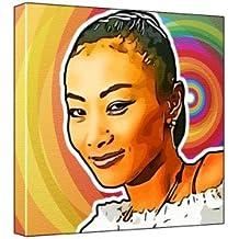 Bai Ling - Pop Art Print (Multicolour; Rainbow Circle Background) 30 x 30 x 2 cm Medium Square Deep Box Canvas